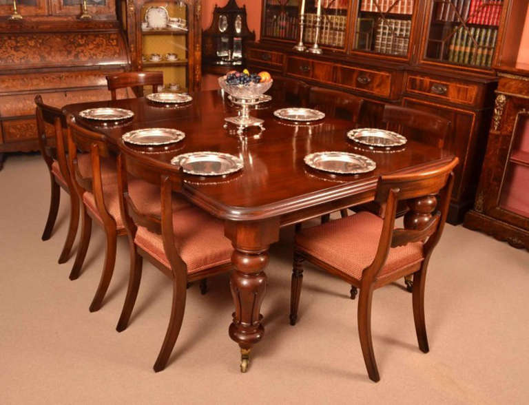 English Antique William Iv Mahogany Dining Table 8 Chairs C 1830 For