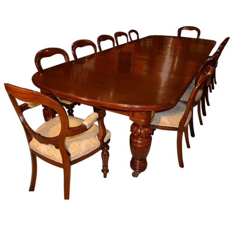 Antique victorian dining table circa 1880 and 12 chairs at for 12 chair dining table set