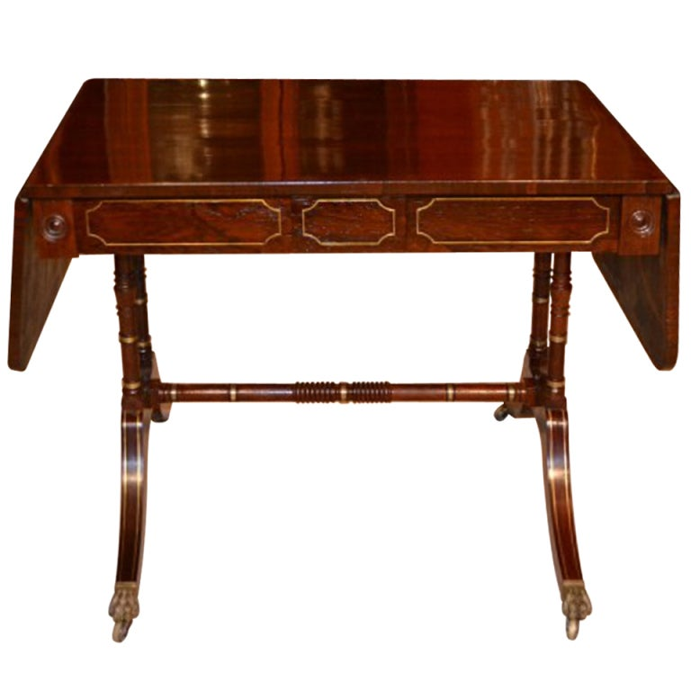 Antique Regency Rosewood Brass Inlaid Sofa Table Circa