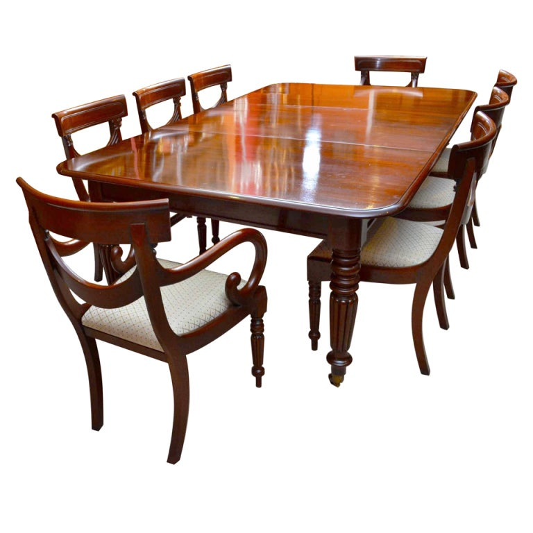 Antique regency dining table with 8 vintage chairs at 1stdibs for Classic dining tables and chairs
