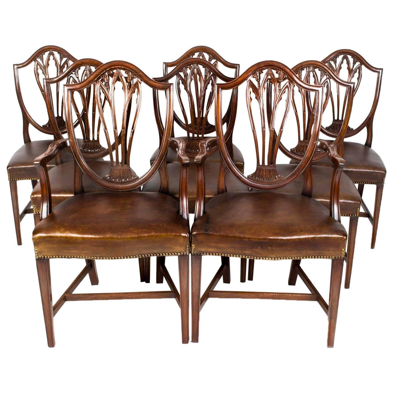 Antique Set 8 English Hepplewhite Dining Chairs C 1900 For