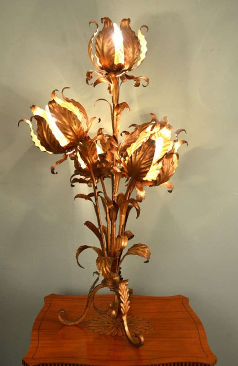 Antique Art Nouveau Gilded Metal Lamp C 1910 At 1stdibs