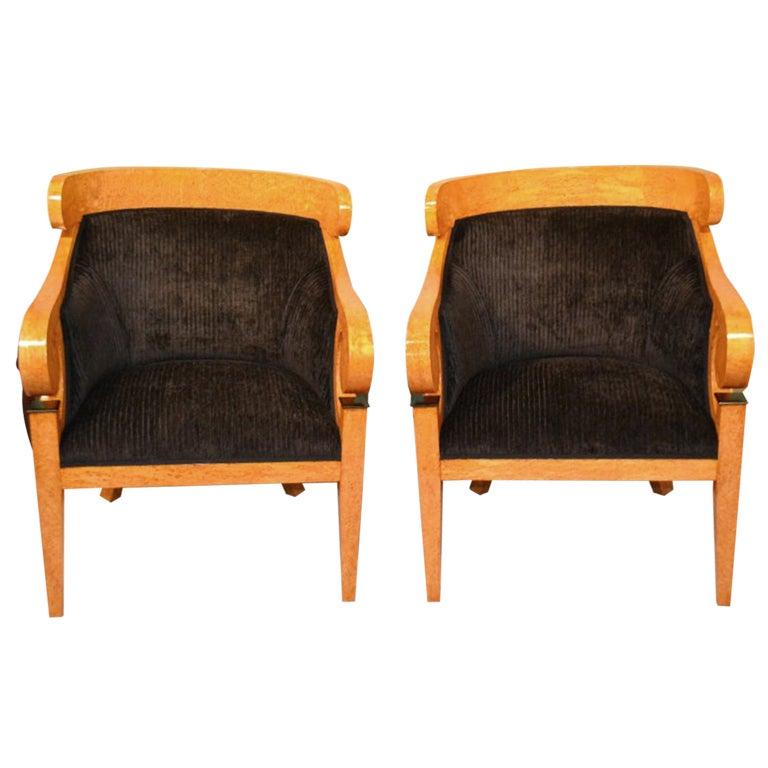 Pair Birdseye Maple Art Deco Biedermeier Armchairs At 1stdibs