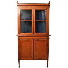 19th Century English Edwardian Satinwood Corner Cabinet