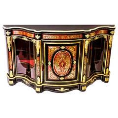 19th Century Serpentine Boulle Cabinet Credenza
