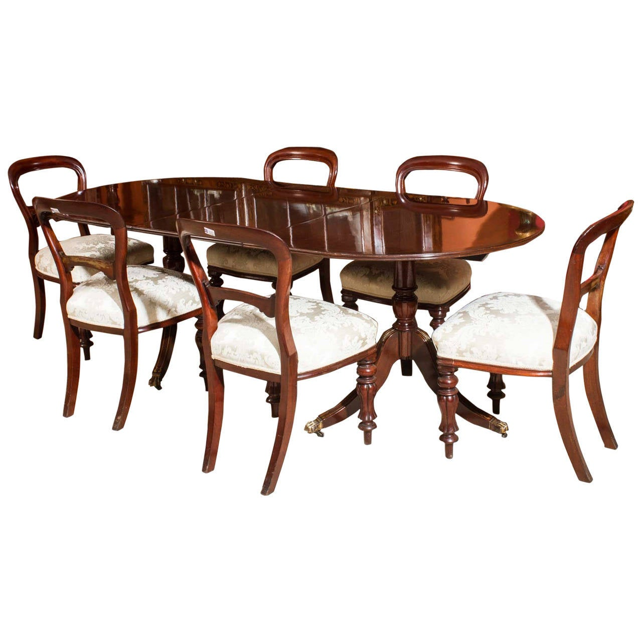Vintage regency style dining table and six antique chairs for Stylish dining table set