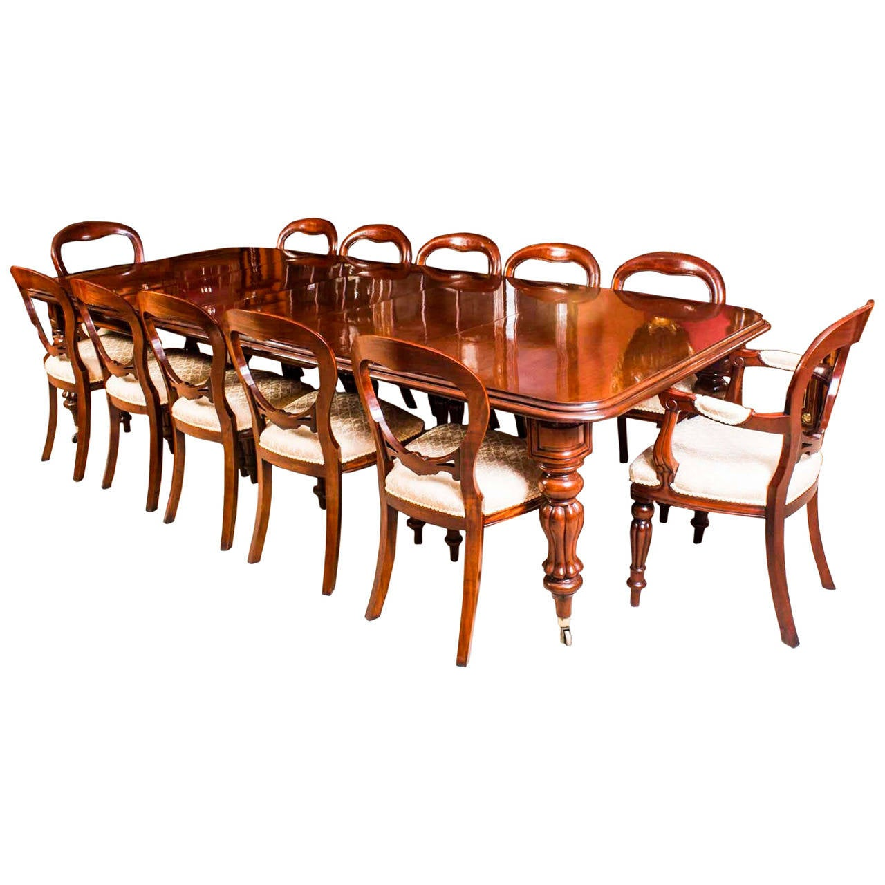 Antique victorian dining chairs - Antique Victorian Dining Table With Twelve Chairs Circa 1850 1