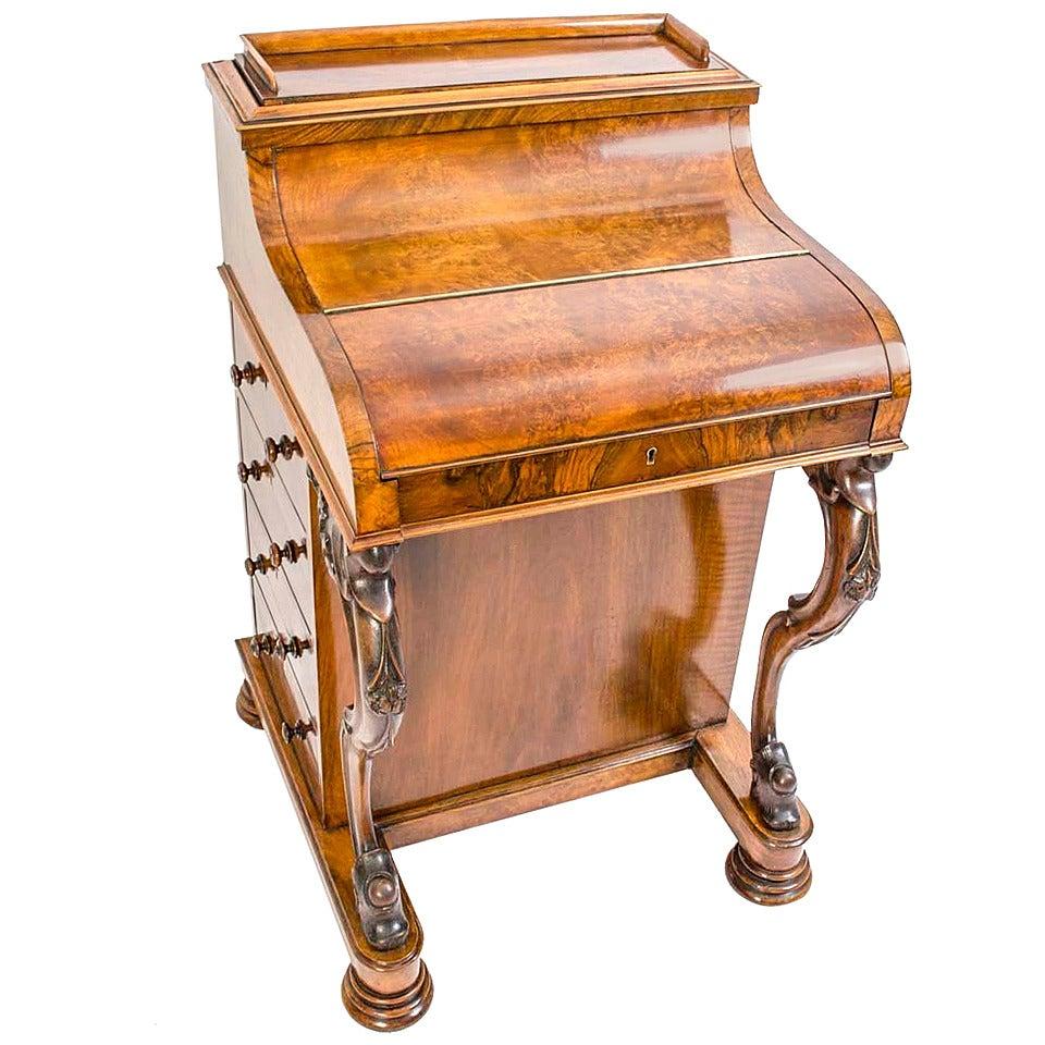 Antique Burr Walnut Pop Up Davenport Desk Circa 1860 At