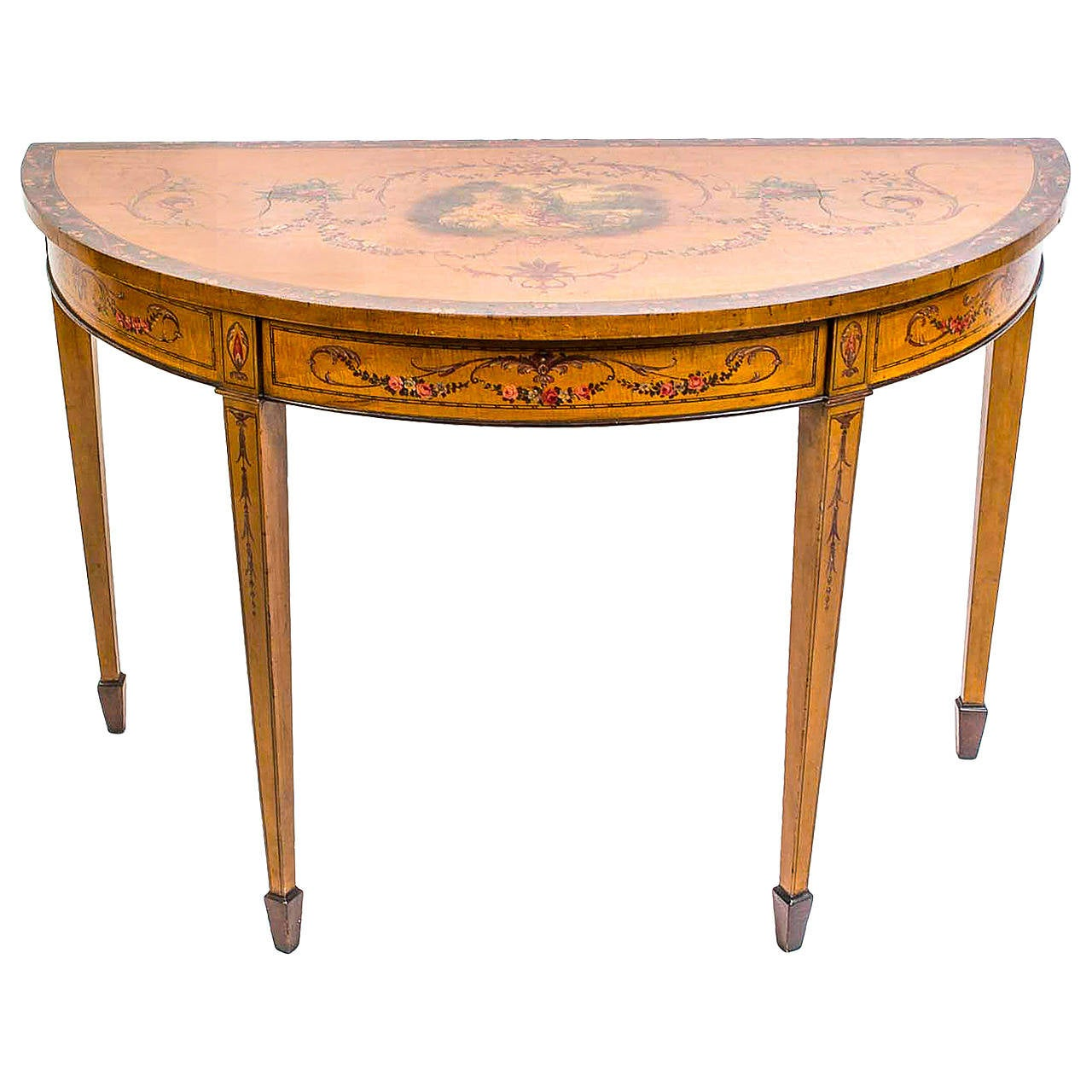 Antique satinwood hand painted console table circa 1900 for Painted foyer tables