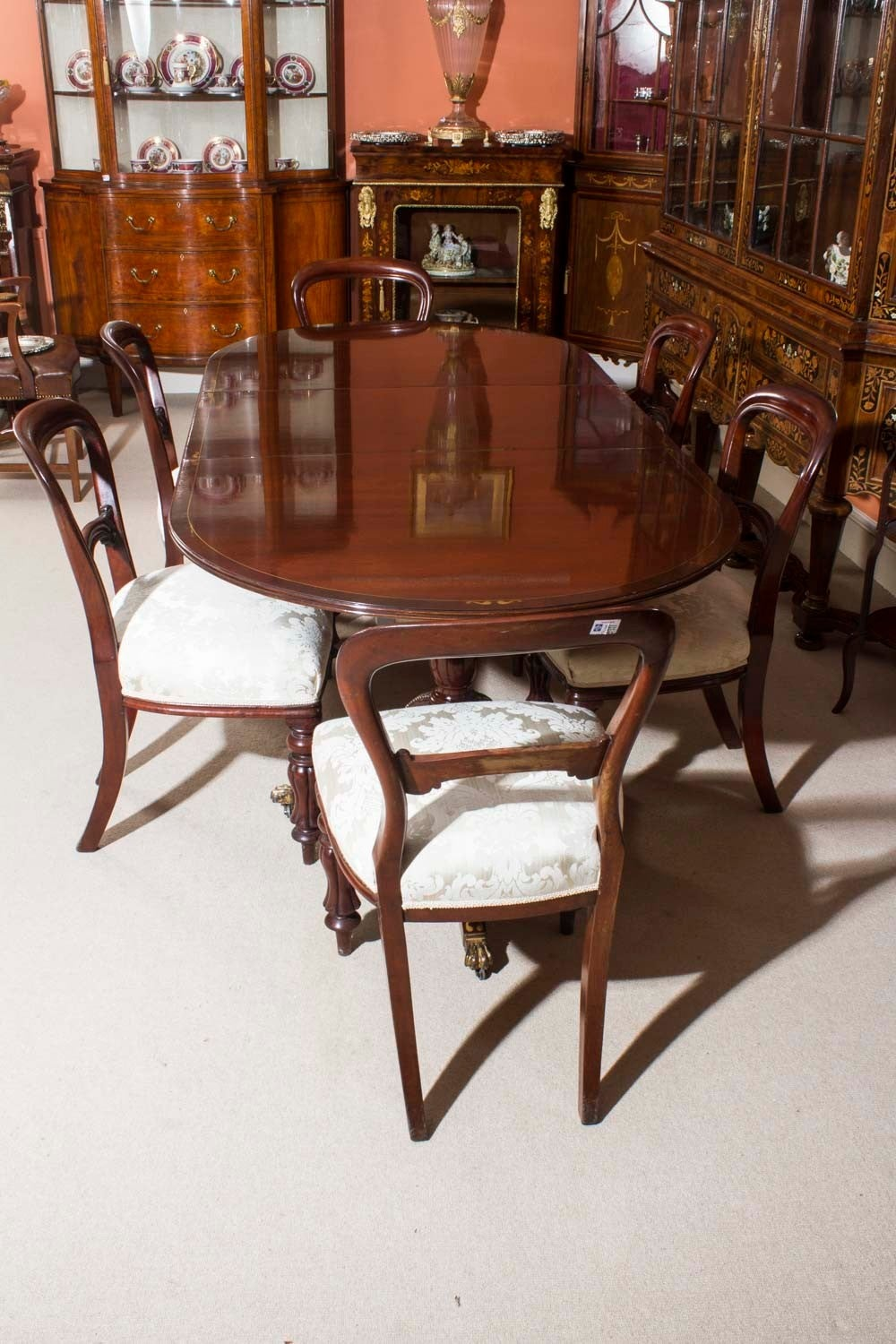 Vintage regency style dining table and six antique chairs for Regency dining room