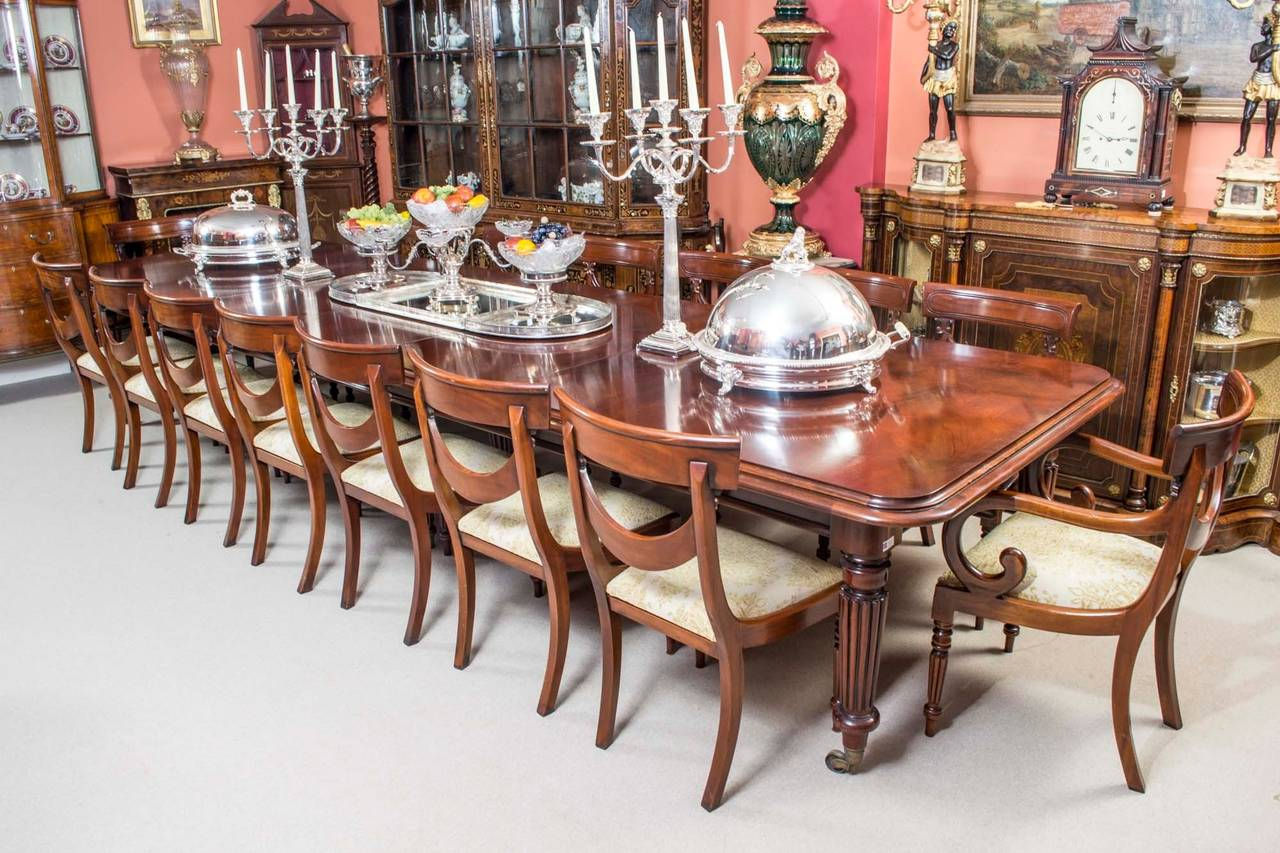 Vintage Victorian Mahogany Dining Table With Sixteen Chairs At 1stdibs