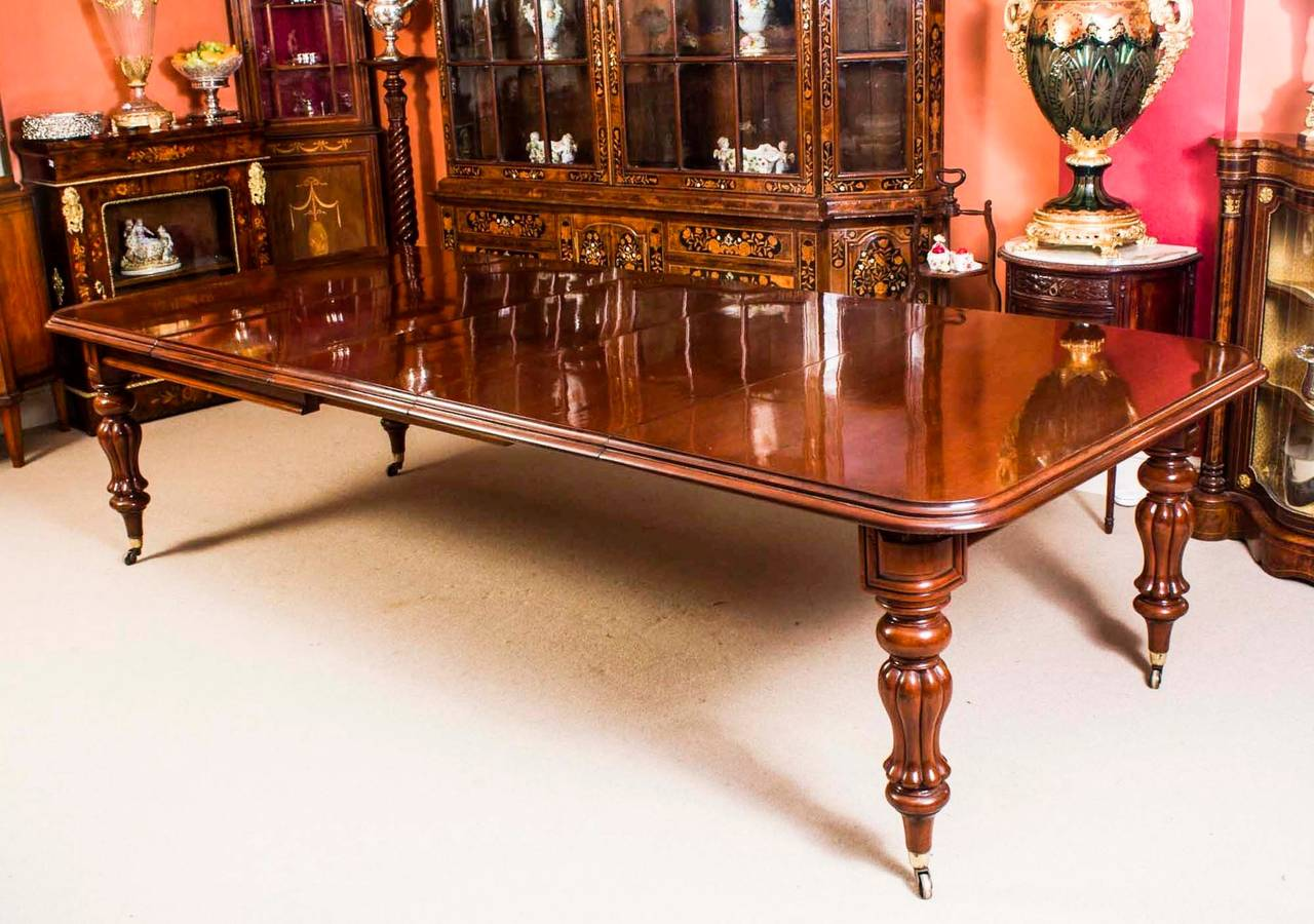 Antique victorian dining table with twelve chairs circa for Dining room tables victorian