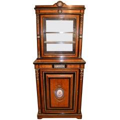Antique Satinwood Display Cabinet Sevres Plaques c.1860