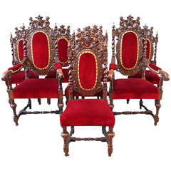 Antique Set of Eight Victorian Carolean Oak Chairs, Circa 1860