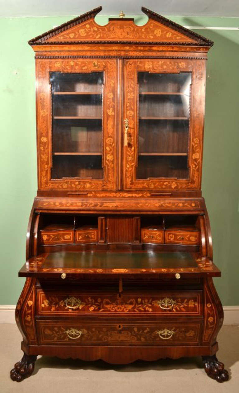 antique mahogany dutch marquetry bureau bookcase circa 1800 at 1stdibs. Black Bedroom Furniture Sets. Home Design Ideas