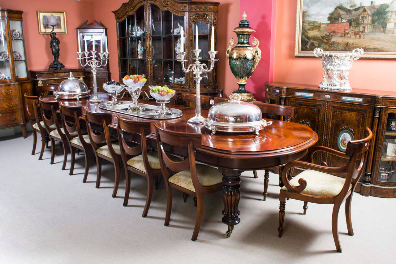 Vintage victorian mahogany dining table with 14 chairs at for Mahogany dining table
