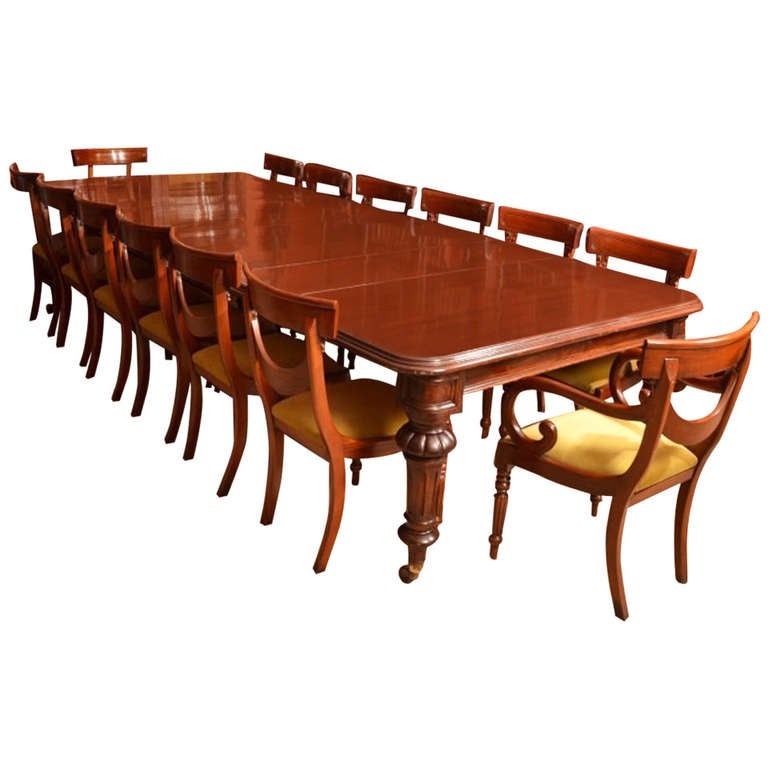 Antique Dining Room Table Chairs: Antique 12 Foot Victorian Dining Table Circa 1860 And 14