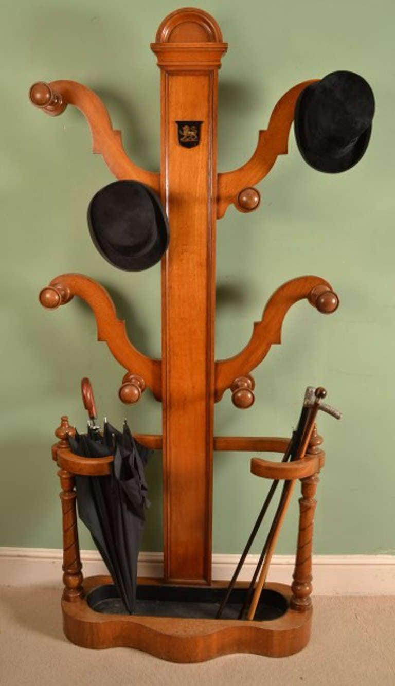 Antique Victorian Oak Hall Umbrella Coat Stand C 1860 For