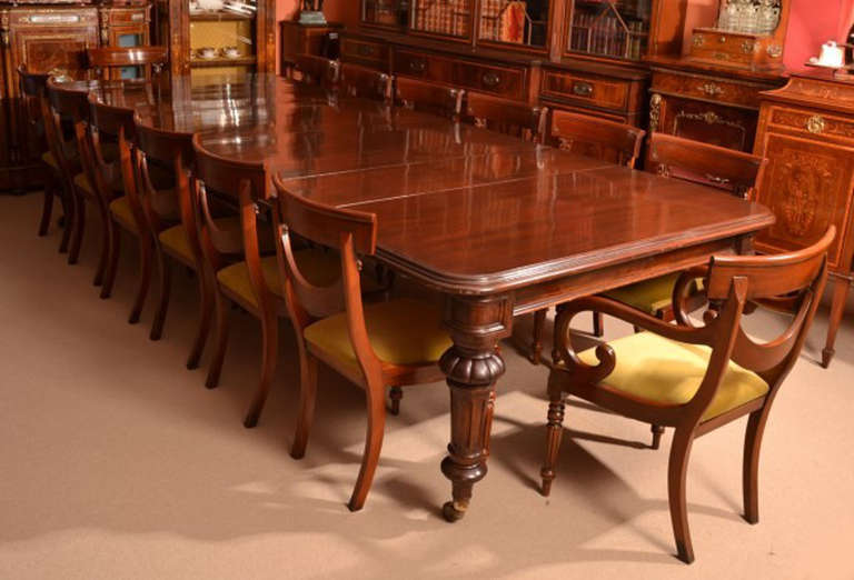Antique 12 Foot Victorian Dining Table circa 1860 and 14 Chairs at