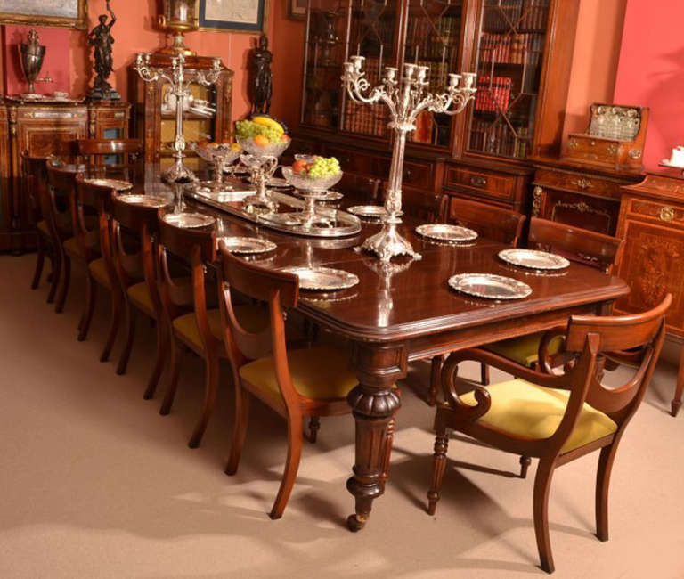English Antique 12 Foot Victorian Dining Table Circa 1860 And 14 Chairs For  Sale