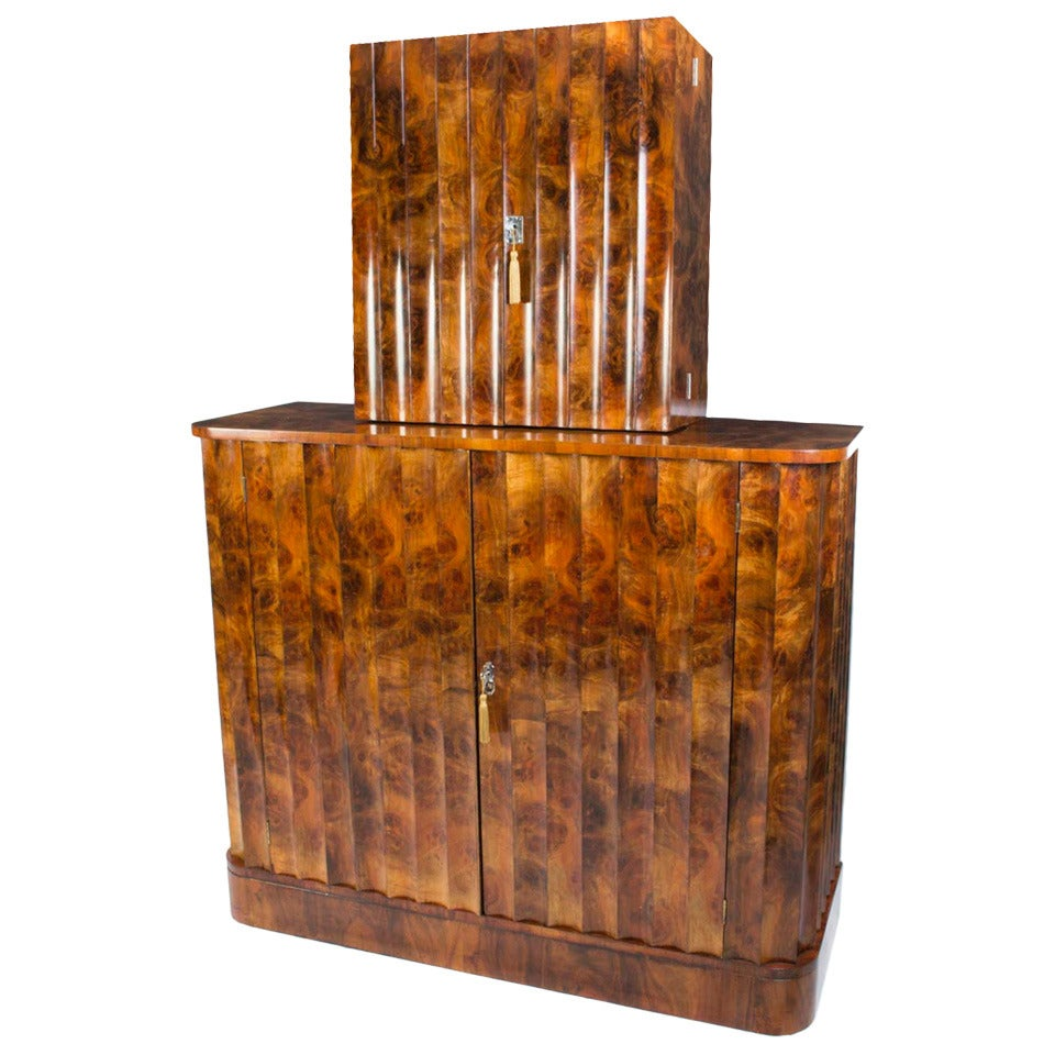antique art deco burr walnut cocktail bar circa 1920 at. Black Bedroom Furniture Sets. Home Design Ideas