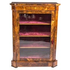 19th Century Large Victorian Burr Walnut Pier Cabinet