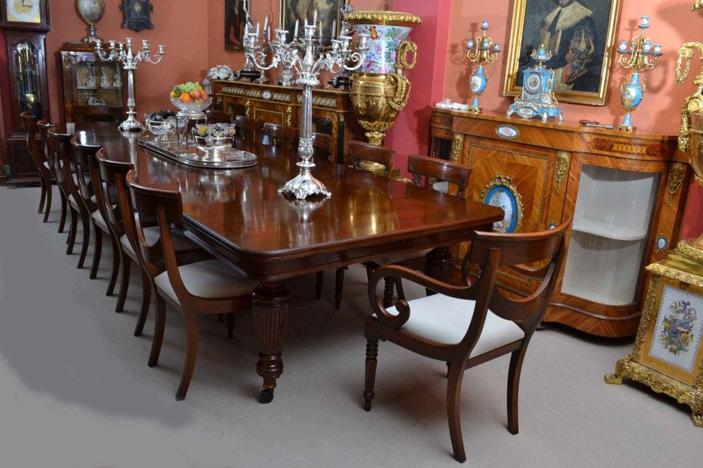 Antique Victorian Dining Table And 14 Chairs C 1880 At 1stdibs