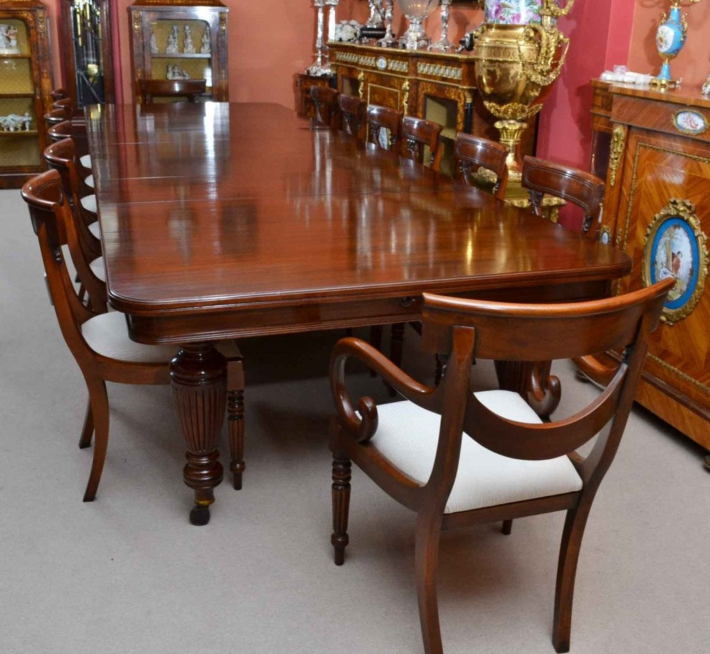 Vintage Dining Room Tables: Antique Victorian Dining Table And 14 Chairs C.1880 At 1stdibs
