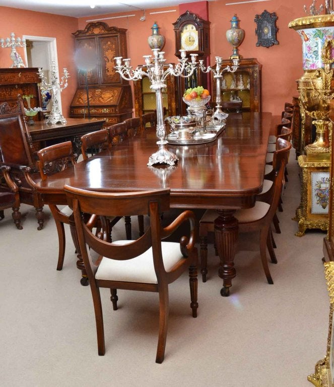 Large Victorian Dining Room: Antique Victorian Dining Table And 14 Chairs C.1880 At 1stdibs
