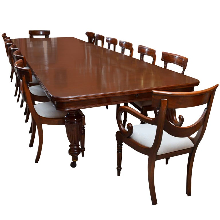 Antique victorian dining table and 14 chairs at 1stdibs for Antique dining room tables