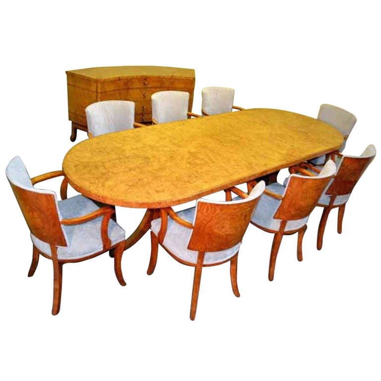 Antique art deco dining table plus chairs and sideboard