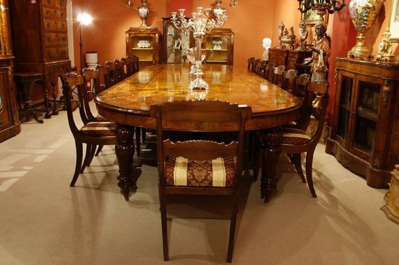 Huge Marquetry Extending Walnut Dining Table With 16