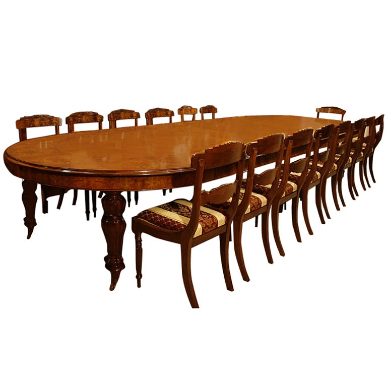 Huge marquetry extending walnut dining table with 16 for Dining room tables seat 16