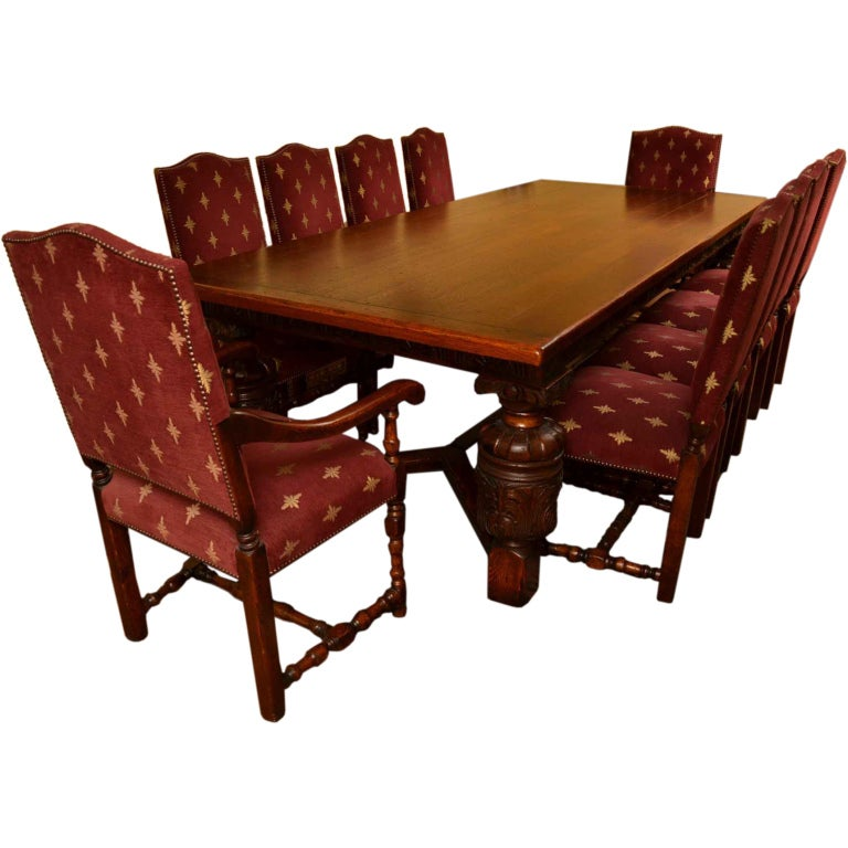 harrods oak dining room suite table and 10 chairs with sideboard at