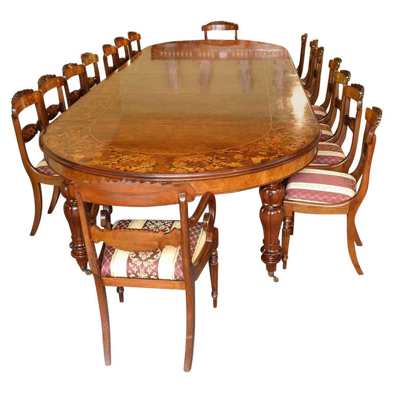 Huge Marquetry Dining Table 16 Chairs Extending Walnut at  : 1148950l from www.1stdibs.com size 768 x 768 jpeg 67kB