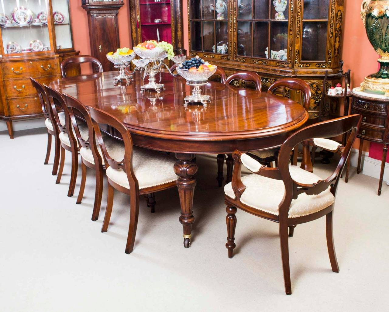 This Is An Exquisite English Antique Victorian Solid Mahogany Extending  Dining Table 10ft, Circa 1870