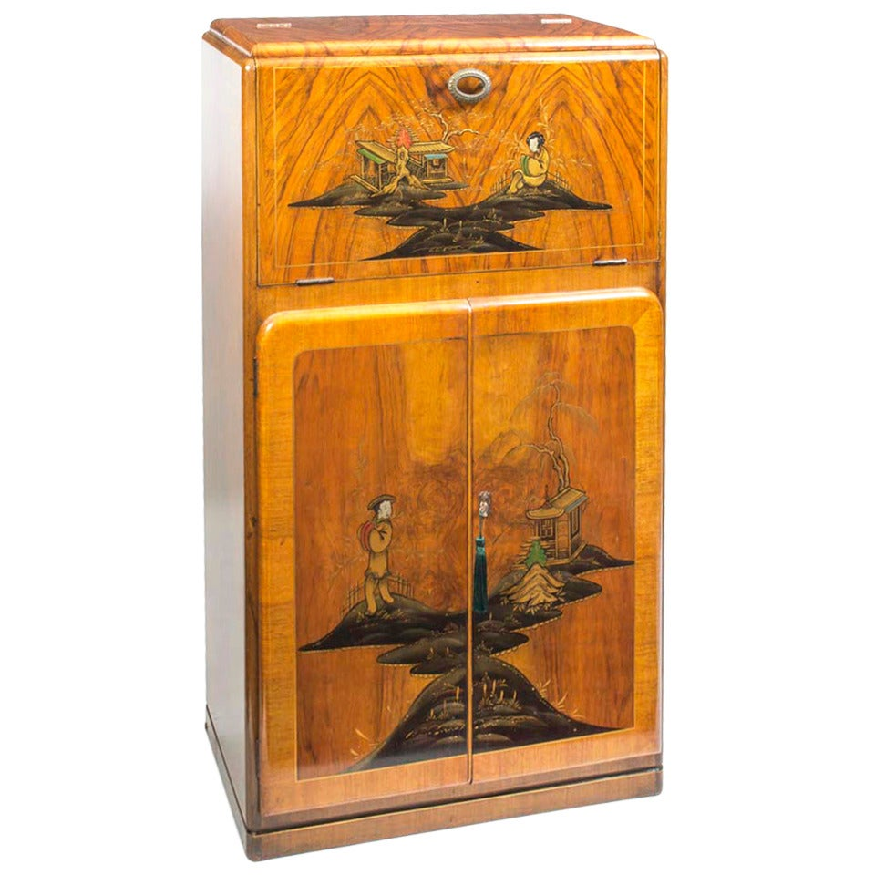 Antique Art Deco Chinoiserie Cocktail Cabinet, circa 188 at 18stdibs