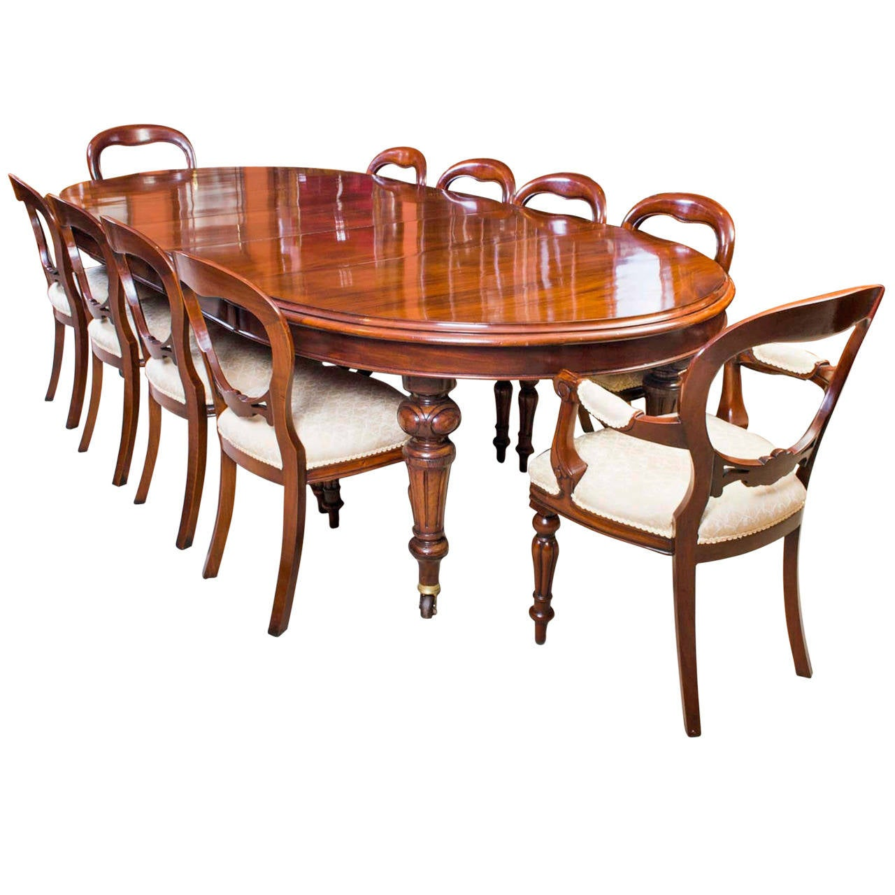 Victorian Dining Room Table: Antique Victorian Dining Table And Ten Chairs, Circa 1870