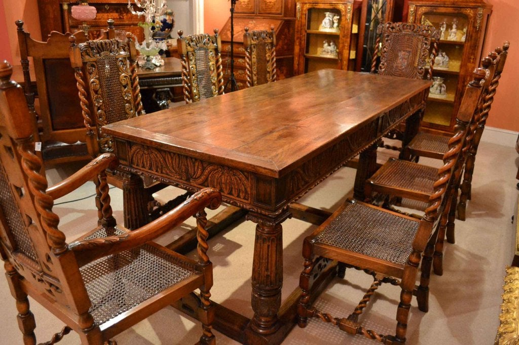 Antique solid oak refectory dining table and 8 chairs at for Antique dining room sets