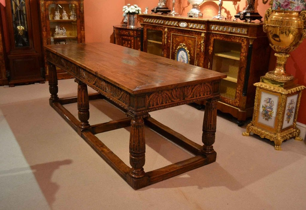 Antique Solid Oak Refectory Dining Table And 8 Chairs At 1stdibs