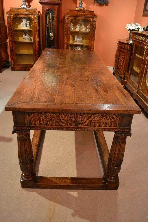 Antique Solid Oak Refectory Dining Table And 8 Chairs At