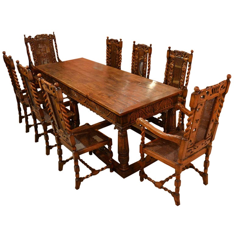 Antique solid oak refectory dining table and 8 chairs at for Dining room table and 8 chairs