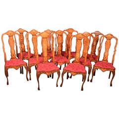 Antique Set of 11 Dutch Marquetry Walnut Chairs, 18th Century