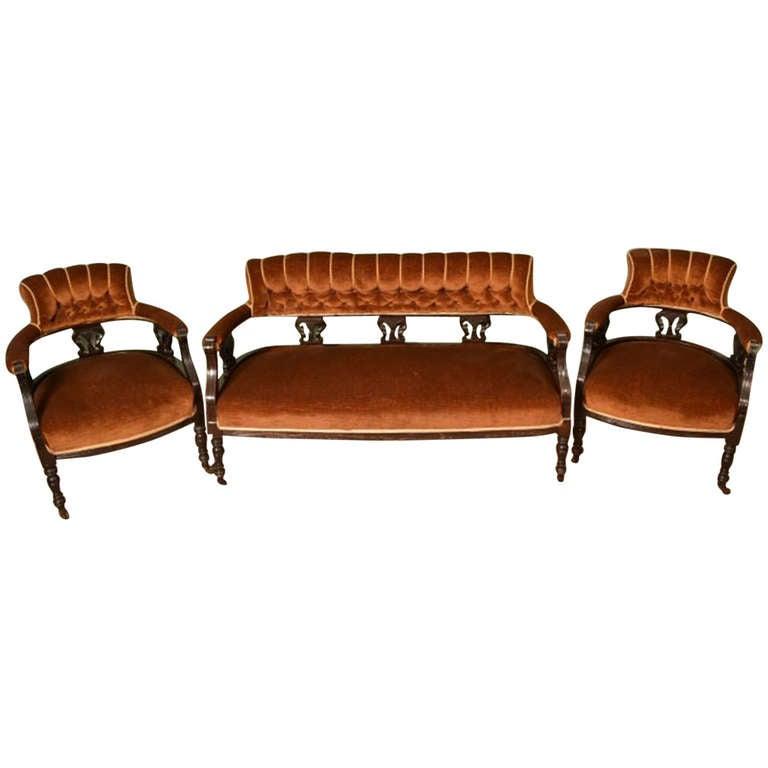 Antique victorian mahogany three piece suite circa 1890 for Furniture 3 piece suites