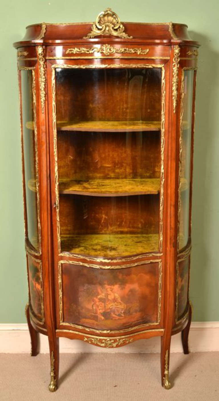 This is a lovely antique French Vernis Martin mahogany serpentine vitrine  in the Louis XV Revival - Antique French Vernis Martin Vitrine Cabinet, Circa 1900 At 1stdibs