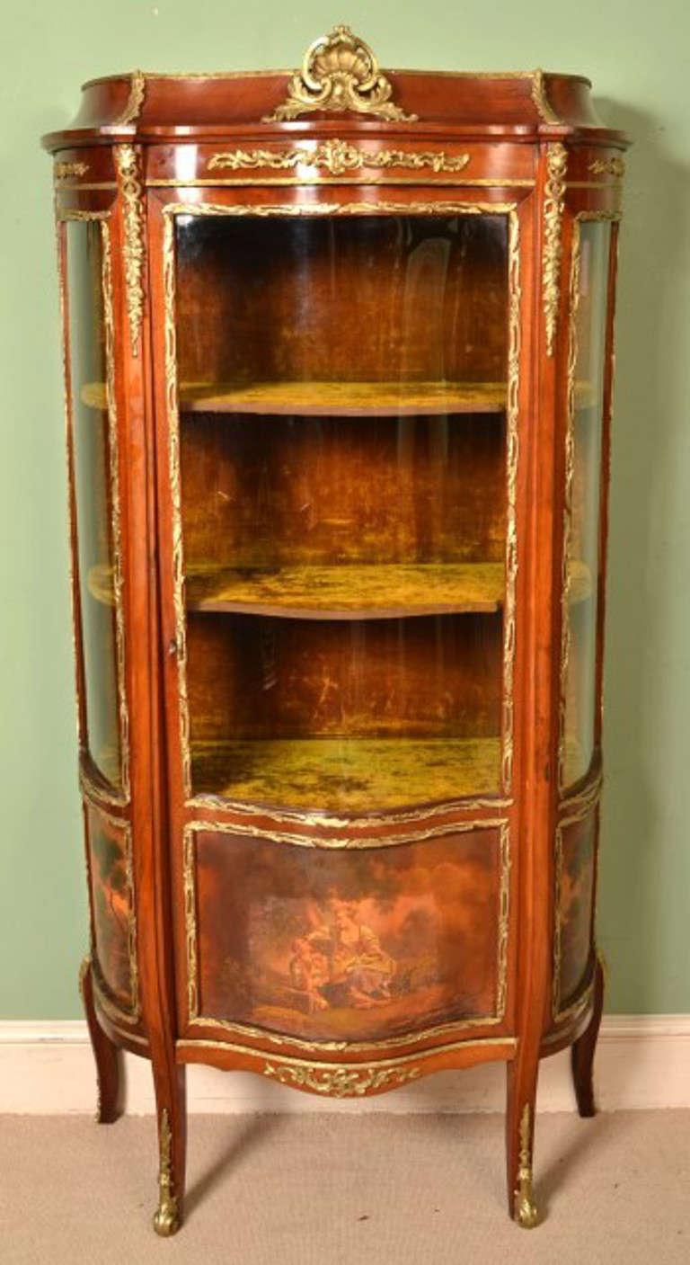 Antique french vernis martin vitrine cabinet circa 1900 for Sideboard vitrine