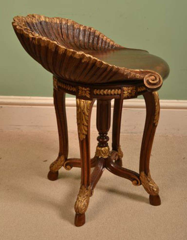 Antique Venetian Grotto Music Chair Stool Circa 1880 At