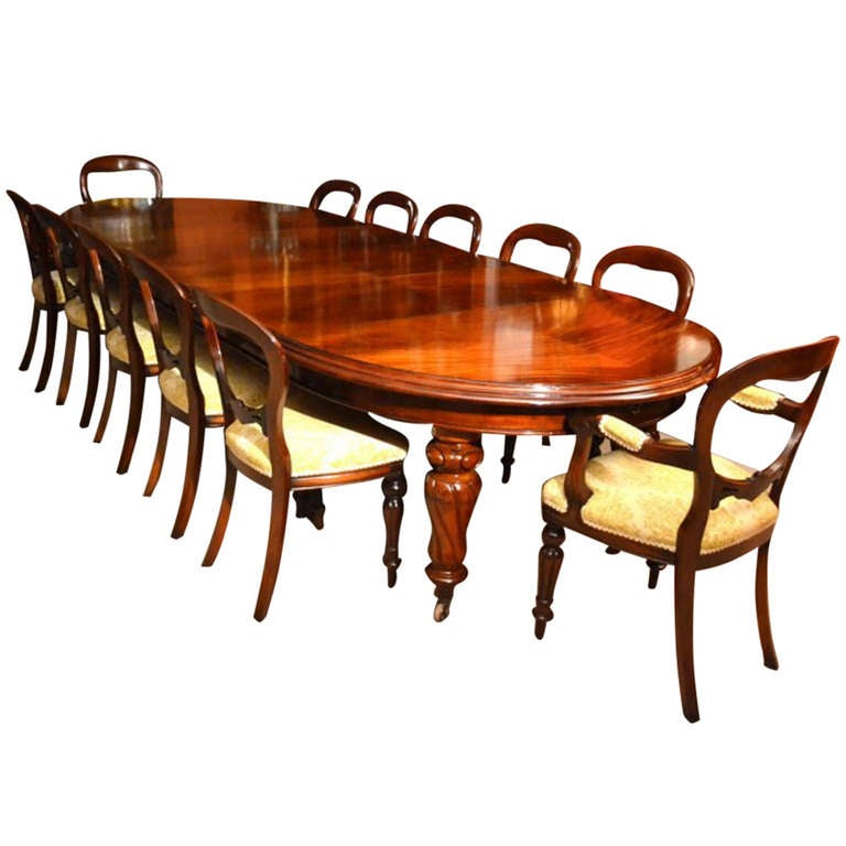Antique 12ft victorian dining table 12 chairs for Dining room tables victorian