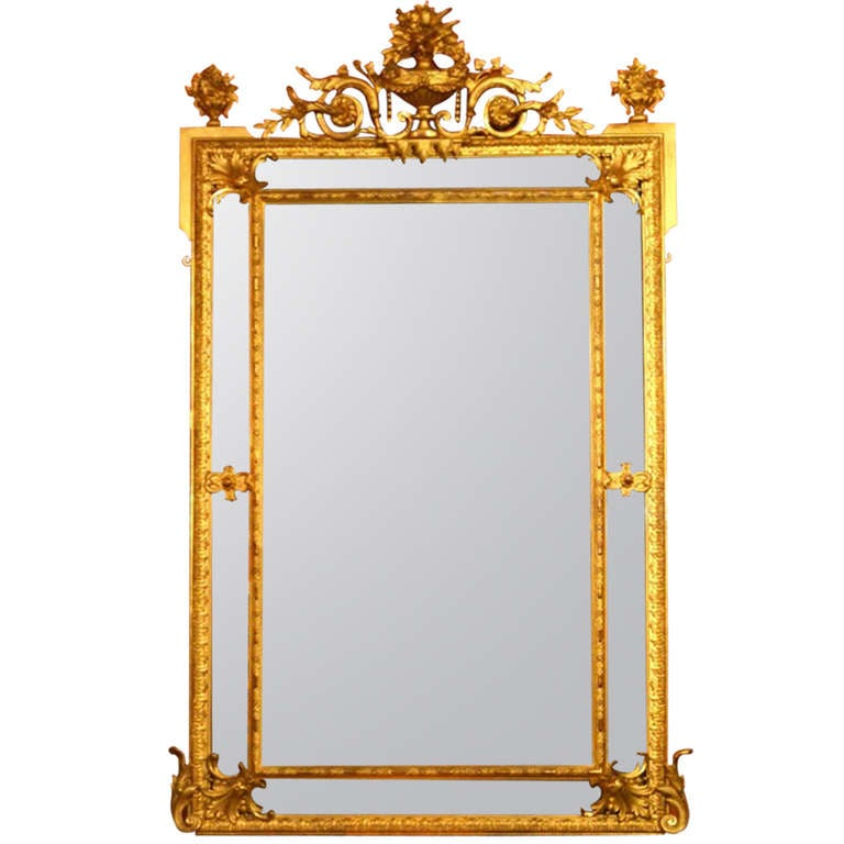 Antique Large French Cushion Gilded Mirror C 1880