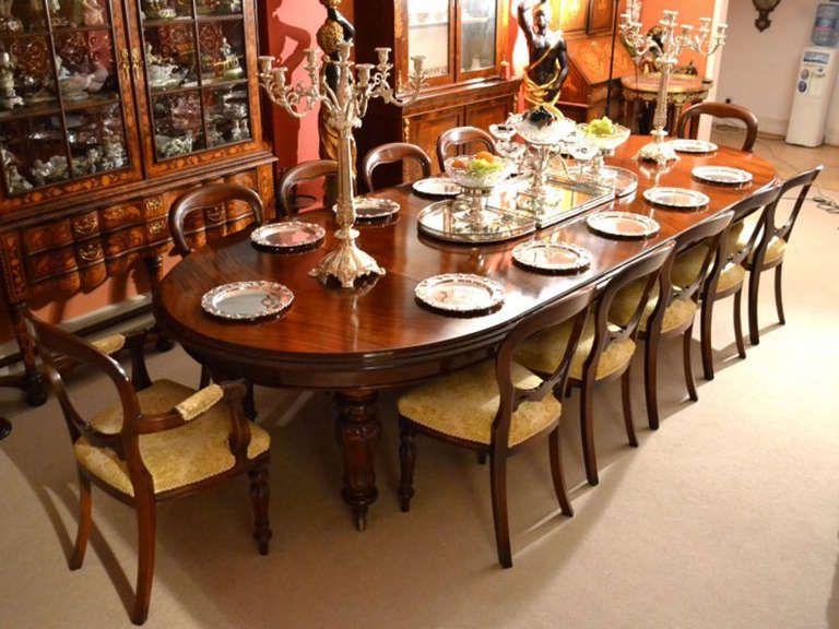 antique dining room tables and chairs antique 12ft dining table amp 12 chairs c 1860 image 2 9024